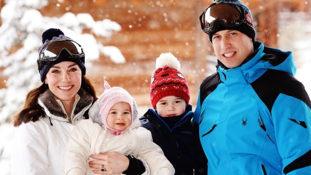 The Duke and Duchess of Cambridge with their children, Prince George and Princess Charlotte, in the French Alps.