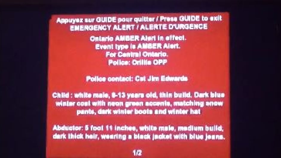 Ontario Viewers Peeved After Amber Alert Interrupts Sunday Night Tv Watching Cbc News