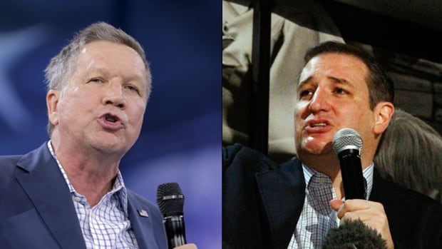 Republican presidential candidates John Kasich, left, and Ted Cruz, are hoping for a strong showing against Donald Trump at today's Michigan primary. Kasich in particular could hold strong appeal among more moderate conservatives in the Rust Belt. 'He speaks our language,' a Republican strategist in Michigan says of the Ohio governor.