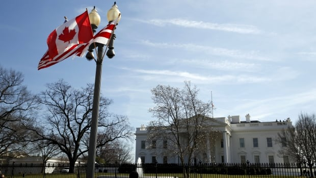 A Canadian flag flutters on a lamp post along Pennsylvania Avenue outside the White House in Washington this week. Prime Minister Justin Trudeau is visiting the U.S. capital on an official visit.