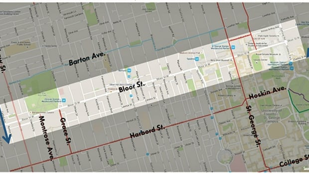 Proposed Bloor bike lanes map