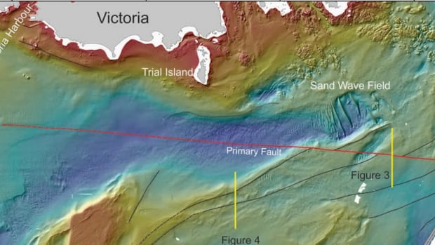 The Devil's Mountain Faults, indicated here by a red line, is actually made up of a series of faults that run from Washington to Victoria.