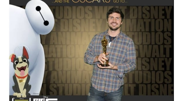 Ottawa native Trent Correy shows off the Oscar he won for his animation work in the Disney film, Big Hero 6.