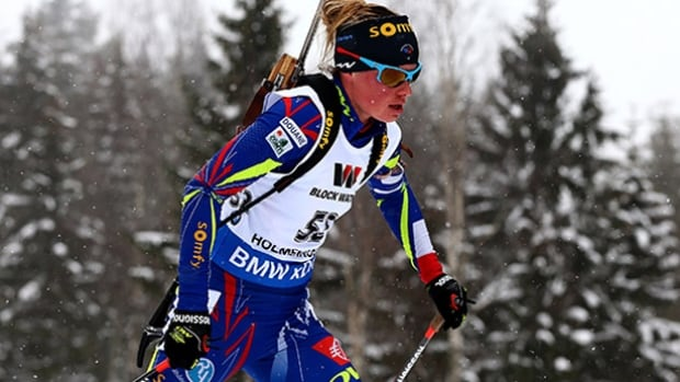 Marie Dorin Habert of France competes in the women's 15km individual race during day six of the IBU biathlon world championships.