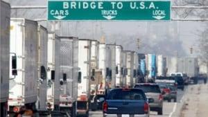 Trucks waiting for Ambassador Bridge