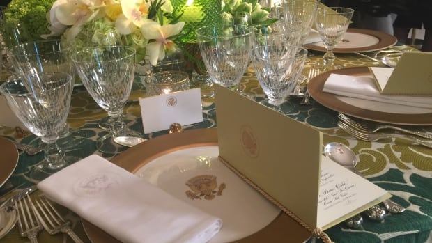 A sample place setting is set up before the state dinner that will be held Thursday in honour of Prime Minister Justin Trudeau. Guests will be served on the Obama china.