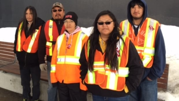 Darlene Barkman (second from right) says she hopes the 1,000-kilometre walk she and others from Sachigo Lake First Nation completed on Wednesday raises enough money for a First Nations student residence.