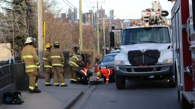 Traffic around 21st Street S.W. was affected Wedneday evening following a huge release of energy which shot a manhole into the air.