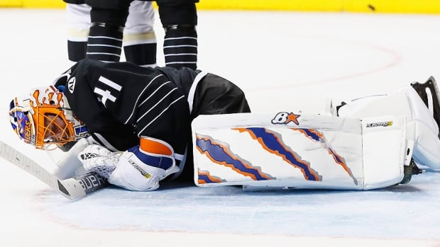 Islanders goalie Jaroslav Halak hurt himself in the final five minutes of Tuesday night's 2-1 win over the visiting Pittsburgh Penguins and will be sidelined six weeks with a lower-body injury. New York will turn to backup Thomas Greiss, who actually led the NHL with a .930 save percentage this season entering play on Wednesday.