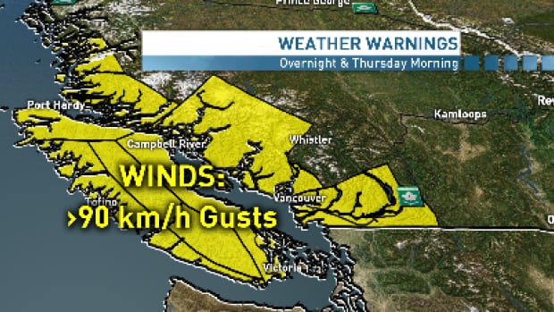 Winds up to 90 km/h are expected in parts of B.C.