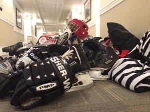 Hockey gear in Iqaluit