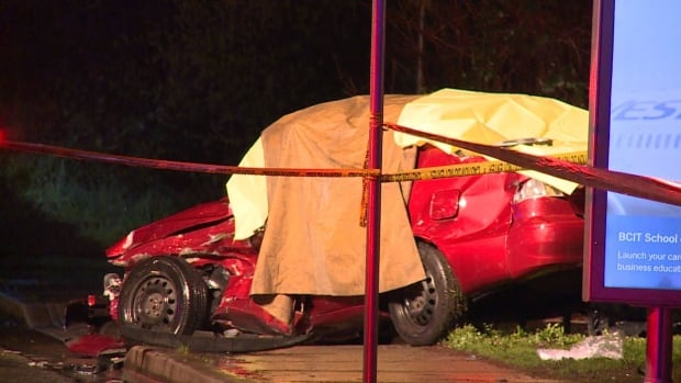 A young woman who was driving this car is dead after a late night hit-and-run in Burnaby.