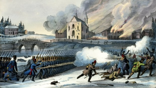 Government troops scatter the insurgents and torch the church at the Battle of Saint-Eustache in 1837. The province's new two-year history course focuses heavily on conflict, one history teacher says.