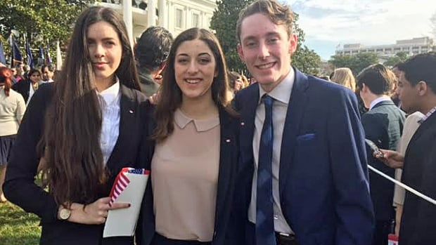 Tamara Vujic, left, Natalie Culmone and Jeremy Burke are members of Walkerville Collegiate's arts club and were in Washington to meet Prime Minister Justin Trudeau on Thursday.