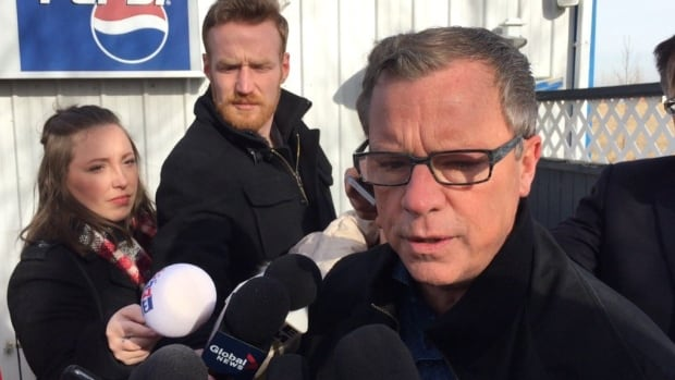 Saskatchewan Party leader Brad Wall at a highways announcement.