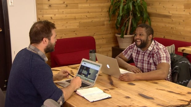 Jayden Soroka, left, and Alistair Maitland at Creative Lab at 204 D Strickland Street.