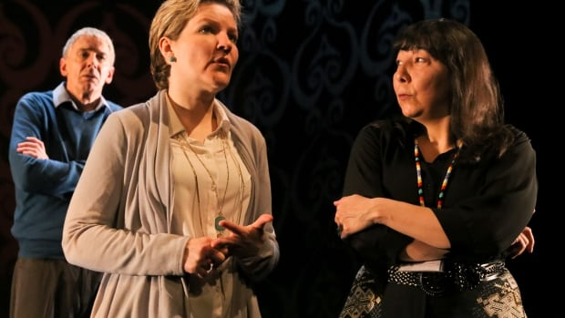 A scene from Reservations, which stars Steven Ratzlaff, Sarah Constible and Tracey Nepinak.