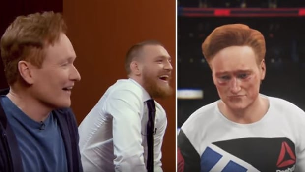 From left to right, late-night talk show host Conan O'Brien and UFC champion Conor MacGregor marvel at the abuse taken by O'Brien's video game avatar, right.