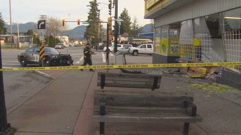 Stolen Vancouver police car crashes into Burnaby storefront | CBC News