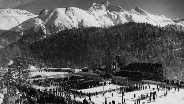 The opening ceremony of the 1948 Winter Olympics at the Ice Stadium in St Moritz, Switzerland, when the country last hosted the Winter Games.