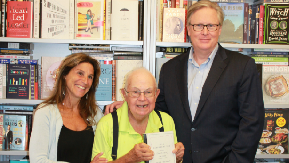 "Donald Triplett (centre) now 83 years old, was the first child diagnosed with autism, with Caren Zucker and John Donvan, authors of ""In a Different Key: The Story of Autism."""