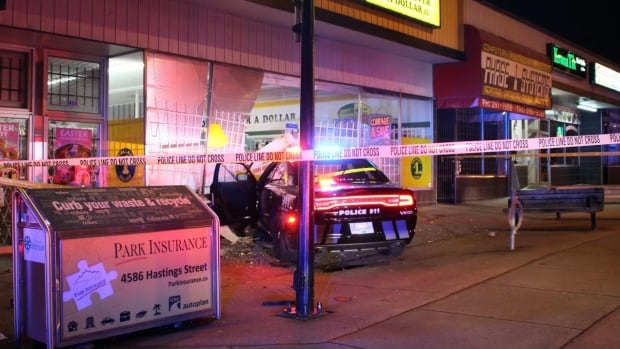VPD say a woman bypassed the police cruiser immobilizer to steal this car which was eventually recovered after it crashed into a Burnaby Dollar Giant store.