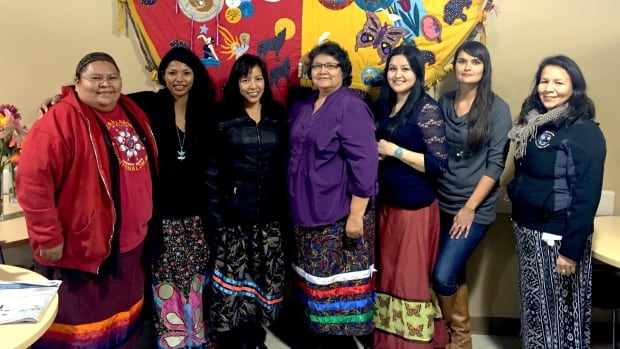 Melissa Brown (right from centre) with doulas from Mewinzha Odaadiziike Wiigaming, Fort Frances and members of the Manitoba Indigenous Doula Initiative. The first training sessions will be in late spring or early summer.