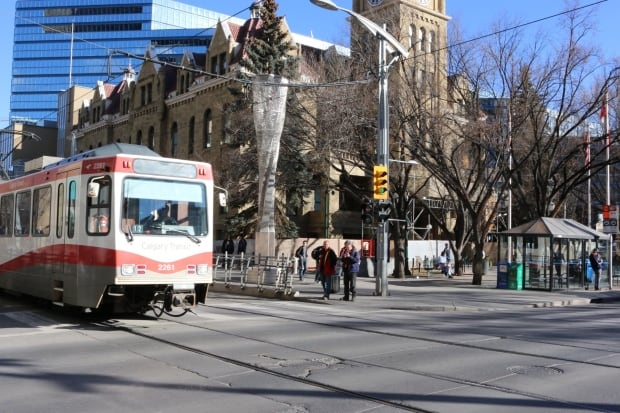 Calgary 6155 C-Train LRT public transit city hall downtown