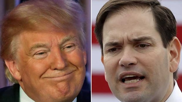 Republican presidential candidate Donald Trump, left, has been the target of a slew of attack ads airing all over Florida in the lead-up to the state's winner-take-all primary on March 15. Florida senator Marco Rubio, right, has been polling in second place in his home state.