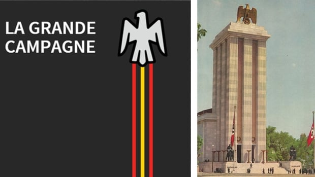 The Laval fundraising campaign image (left) will be redesigned so that it looks less similar to the Nazi-era German pavilion (right), featured at the World's Fair in Paris in 1937.