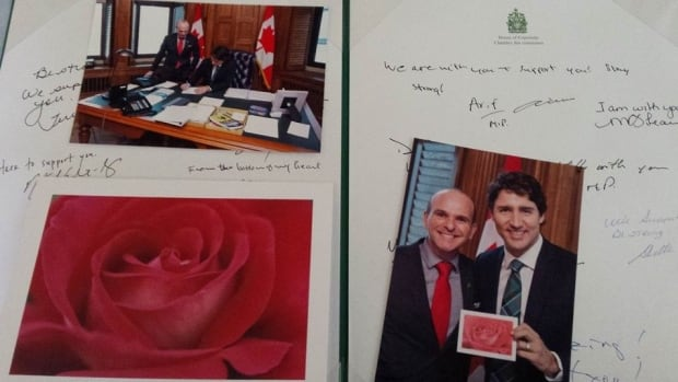 Degas Sikorski received a card from Parliament Hill this weekend, signed with messages of support from MPs and Justin Trudeau. Last month, Sikorski received a valentine containing a homophobic message from someone at his former workplace.