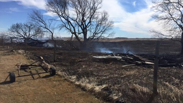 One farm house and its buildings were destroyed in a grass fire south of Oyen, Alta. This is a file photo of the aftermath of a previous grass fire.