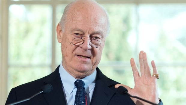 Staffan de Mistura, UN special envoy for Syria, speaks about the International Syria support group's humanitarian access task force update at the European headquarters of the United Nations, in Geneva on March 9.