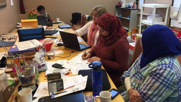 The Immigration Services Association of Nova Scotia set up a mobile office on the third floor in December to help transition 700 Syrian refugees to their new lives in Canada.