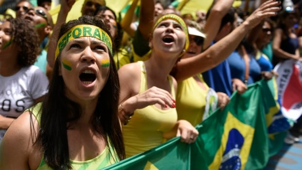 Demonstrators in the tens of thousands gathered in Liberty Square, in Belo Horizonte, Brazil, on March 13, 2016 seeking to bring down President Dilma Rousseff.