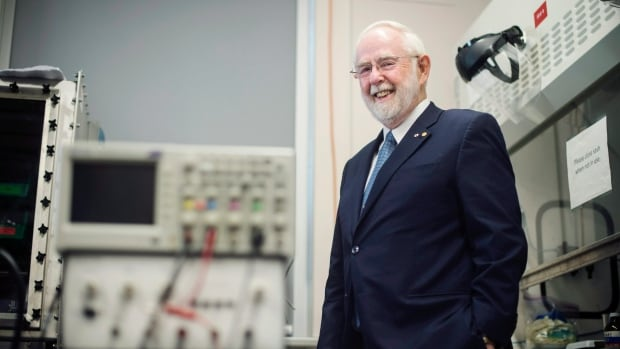 Arthur McDonald, Dalhousie University alumnus and co-recipient of the 2015 Nobel Prize in Physics, laughs while posing at the university on Monday.