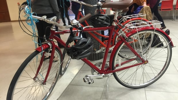 Eight of these upright, cruiser-style bikes are available to rent for students and faculty at the University of Calgary.