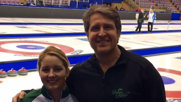 Amateur curler Ryan Giddens (right) with his wife Meaghan Hughes.