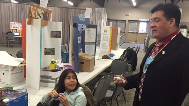 FSIN Chief Bobby Cameron meets with students at a First Nations science fair in Saskatoon.