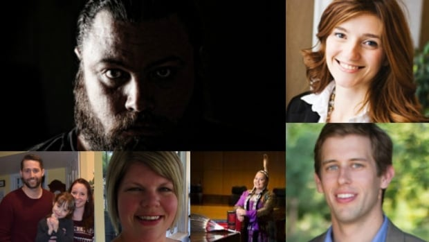 Meet five more outstanding CBC Saskatchewan Future 40 winners, and one Bright Light: (clockwise from lower right) Jeff Wandzura, CBC Bright Light winner Jordynn Delorme, Joanna Sanders, Kyle Moffatt, Ryan Wunsch and Candice Grant.