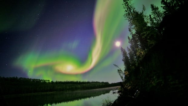 Northern lights appear over Whithorse, Yukon.