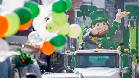 Shot of St. Patrick's Day parade float from Montreal