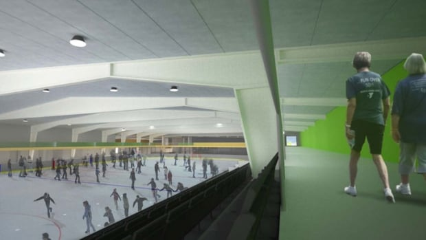 An artist's concept of the upgrades to Hay River's Don Stewart Recreation Centre, including a walking track above the ice rink. The work is expected to be completed by the end of 2017.