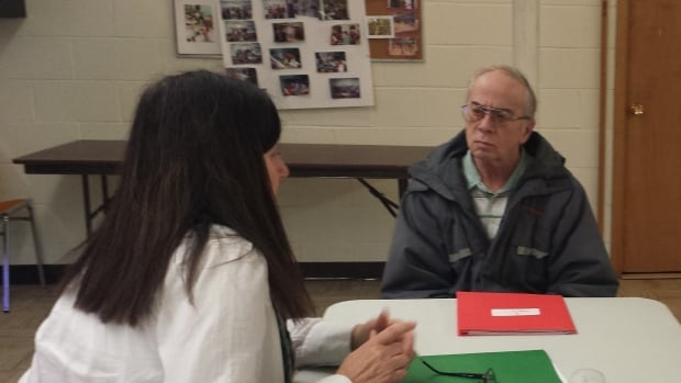 Robert Musil of Murray Harbour gets some advice on the Passport to Employment program offered in Montague starting Mar. 29.