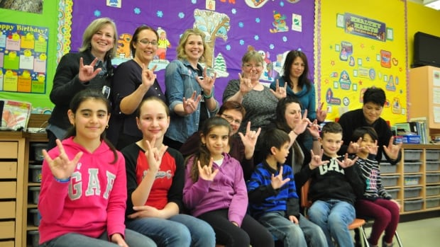 Students and teachers in the Deaf and Hard of Hearing Program at St.Philip School in Saskatoon.