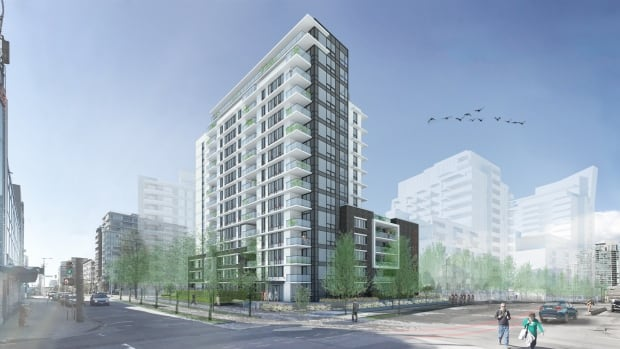 A rendering of an affordable rental building that Concert Properties is developing on land owned by the City of Vancouver in the southeast area of False Creek.