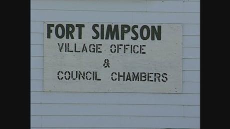 Fort Simpson village office sign