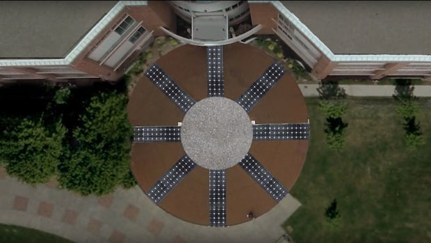 A rendering of what the compass — located in front of the Arts and Education Building at TRU — will look like after the solar modules have been installed on the cardinal arms.