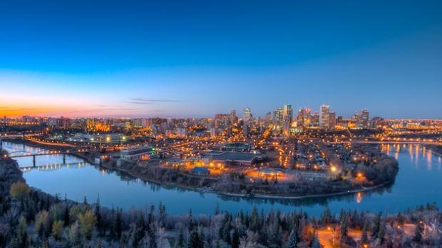 A winter sunset on Edmonton river valley.