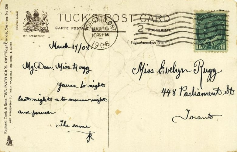 The Message On This 1908 Postcard Reads My Dear Miss Rugg Yours To Night Last And Tomorrow Forever Toronto Public Library